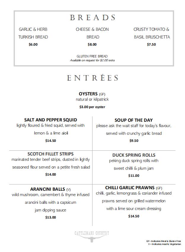 Dubbo Restaurant A La Carte Menu